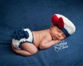 Newborn Sailor Girl Photo Prop/Sailor Prop/Nautical Theme Nursery/Baby Girl Prop/Newborn Military Prop/ Ruffle Diaper Cover