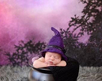 Newborn Witch Hat/ Witch Hat Newborn Photo Prop/ Baby Girl Prop/Halloween Witch Hat/ Crochet Witch Hat