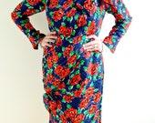 50s Red Rose Dress- 14, Holt Renfrew, L, Pinup, Burlesque, 12, 46, Retro, Mad Men, Joan
