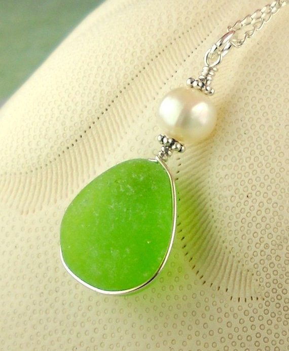 Green Sea Glass Jewelry Wire Wrapped Necklace Sterling Silver And Pearl Eco Friendly