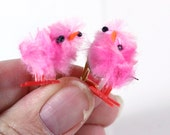 Cute Pink Peeps Baby Chick Easter Earrings - Clip on Earrings - play jewelry - dress up earrings - holiday earrings
