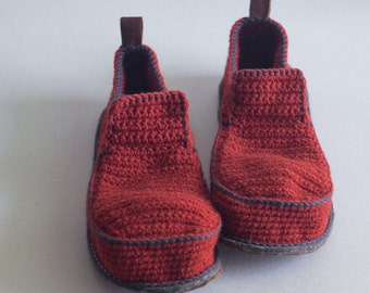 Slippers with Leather Sole in rusty red - above the ankle - all adult shoe sizes US 4-12 EUR 35-46