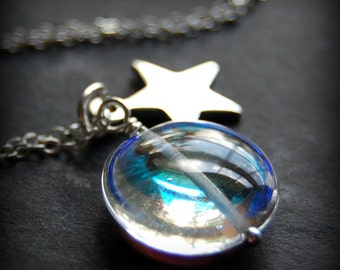 Silver Star Necklace, Aurora Borealis Clear Glass Pendant, Sterling Silver Star Charm, Moonstone Glass Flat Circle, Celestial Jewelry