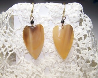 Large Handmade African Earrings Vintage Brown Gold Ethnic Statement Piece Nature Natural Material Bone or Wood