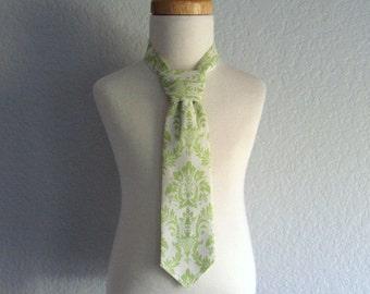 Little Boys Green Necktie or Bow Tie - Pre-Tied Necktie - Sage Green & Cream Damask - Velcro Fastening Tie - Size  XS, S, M, or L