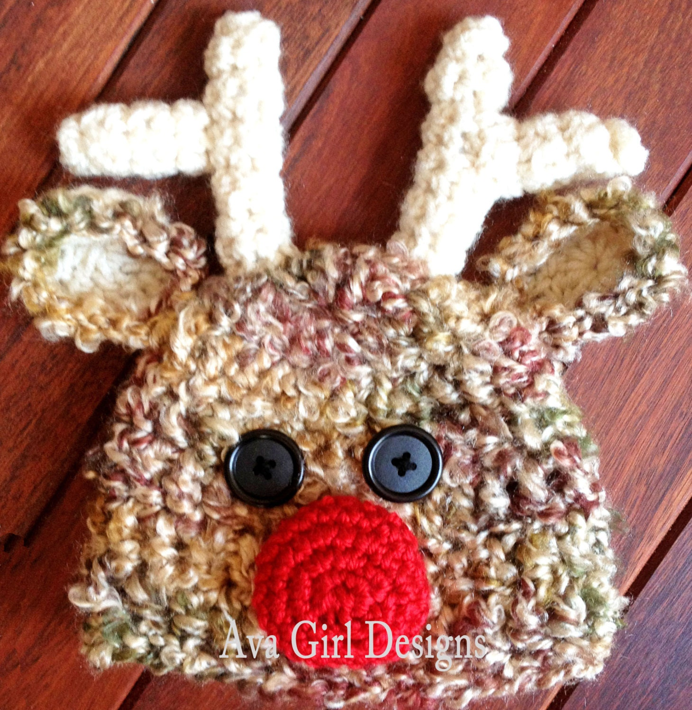 Free Crochet Pattern Baby Receiving Blanket : Newborn baby reindeer crochet hat pattern