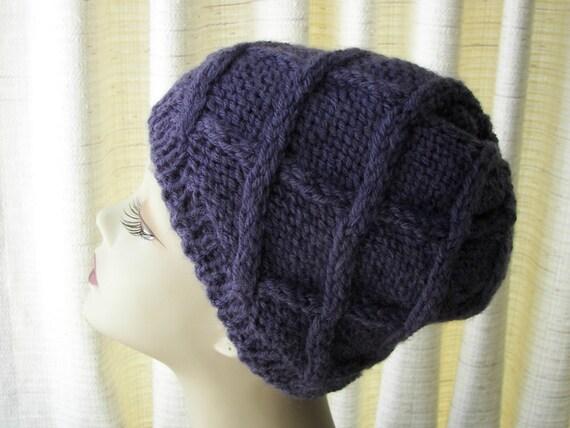 Periwinkle Blue Classic Hand Knit Beanie Ski HAT Warm Textured knit