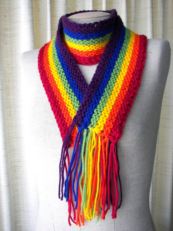 Knitting Pattern For Rainbow Scarf : Gay Pride RAINBOW Vegan Hand Knit SCARF Super Soft by ATIdesign