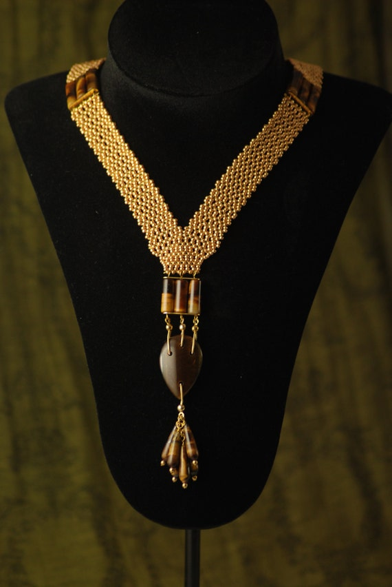 Gold color Sautoir with Tiger Eye beads - Roaring twenties - Handmade - Reproduction necklace