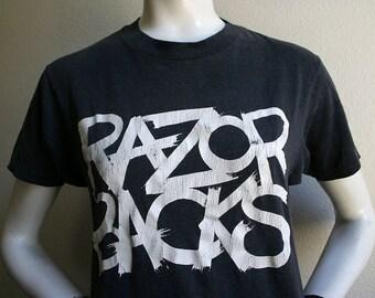 1980's Razorbacks - More love less attitude - Canadian rockabilly band album concert tour unisex 50/50 t-shirt - men's sz S/M