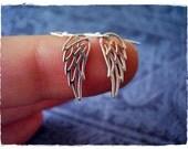 Silver Filigree Angel Wing Earrings - Sterling Silver Filigree Angel Wing Dangle Earrings