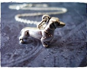 Large Dachshund Necklace - Sterling Silver Dachshund Charm on a Delicate 18 Inch Sterling Silver Cable Chain