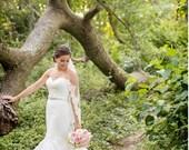 Wedding Veil - One Tier French Alencon Lace Fingertip Wedding Veil