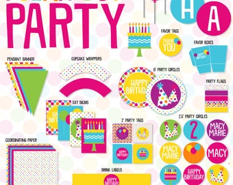Pretty Polka Dot Birthday PARTY Printables by Love The Day