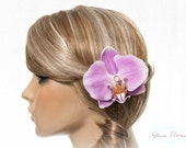 Purple Orchid Hair Clip, Phalaenopsis Hair Pins with natural center. Bridal Flower Hair Combs, Fascinators white or purple orchids