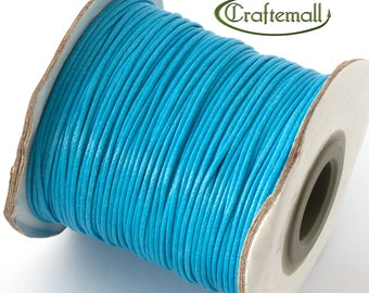 Blue waxed polyester cord - 1mm wax polyester cord - 10m