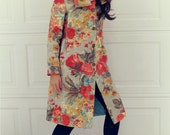 Colorful Floral Long Spring Jacket with Genuine Leather