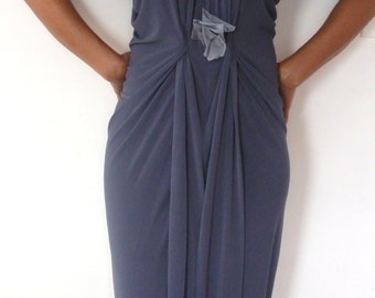 V neck Gunmetal drape front dress with light gray accent/waist is sinched at the waist/racer back dress made to order by cheryl Johnston