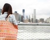 Thani hand stitched Hmong tribal tote in beige