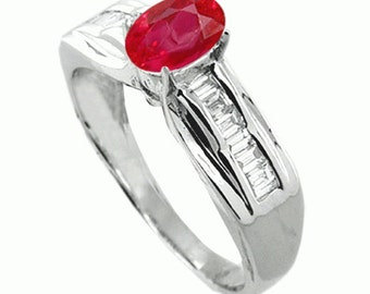 fine jewelry 18k white gold ring ruby diamonds