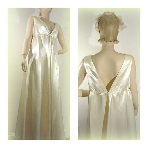 Hollywood Glamour Wedding Gowns: Ivory Satin Gown 60s Wedding Hollywood Glam By Modernmatters