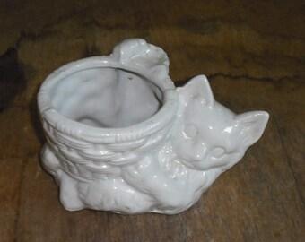 Vintage Cat Kitten holding Basket Planter Catchall Animal Feline White Ceramic Retro Home Decor Kitchen Gift Wedding