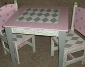 Table Chairs Desks Kids and Baby Nursery Furniture Custom Pink and Gray Table  and 2 Chair set Tea Party Table