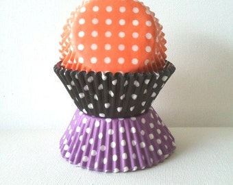 60 Purple Black Orange Polka Dot Halloween Combo Standard Cupcake Liners Muffin Baking Cups