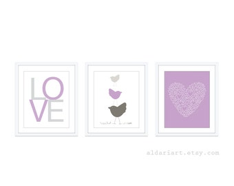 Baby Nursery Print Set - Modern Home Decor - Lavender Purple Grey - Birds Love Heart  - Spring Pastel Colors