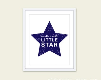 Twinkle Twinkle Little Star - Nursery Typography Digital Print - Navy Blue and White