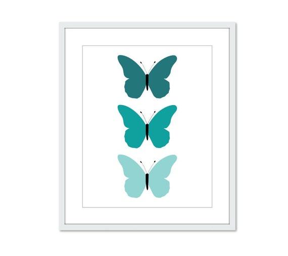 Teal Medallion Wall Decor : Butterflies art print teal turquoise blue spring summer