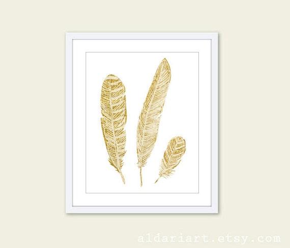 Gold Feathers Print Ethnic Boho Tribal Decor Southwest