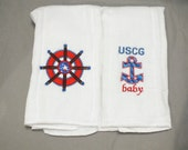 USCG baby boy nautical burp cloth United States Coast guard baby boy burp cloth set