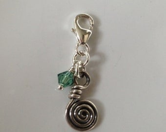 Sterling Spiral and Swarovski Clip On Charm