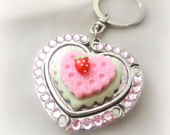 Kawaii strawberry keychain, heart shaped folding purse hook with keyholder, bag charm, sweet lolita accessories