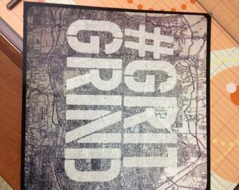 Memphis Grizzles 8x8 GRIT GRIND fan art print - Memphis map typography