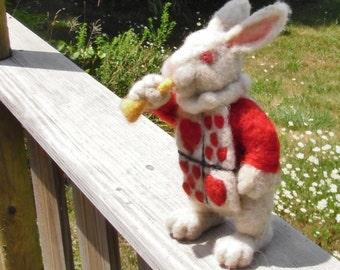 Needle Felt White Rabbit with jacket or livery : Alice in Wonderland figurine