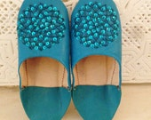 Torqouise Moroccan Slippers,  Babouche Slippers  with Sequences- Les Etoiles, for birthdays, Valentines day, home slippers, leather slippers