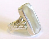 Vintage Ring Sterling Silver Jeweled Mother of Pearl Large Statement Ring size 8.5