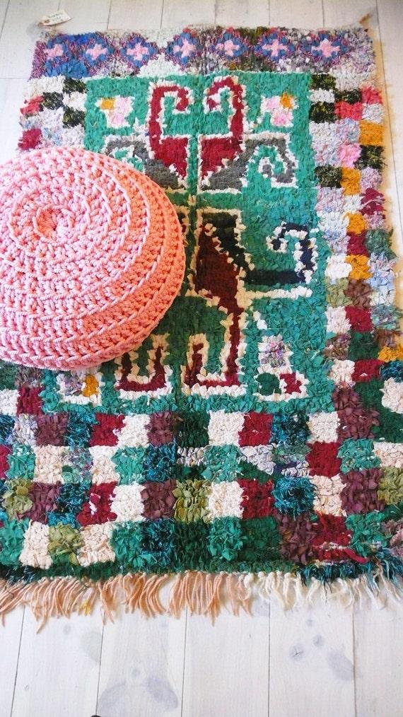"Vintage Moroccan Rag Rug - BOUCHEROUITE ""tribal emerald"""