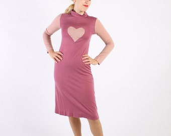 Dress 70s Vintage 1970s Knit HEART  Dress S Small Purple Rose