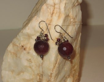 Deep Red Ruby Faceted Quartz and Garnet Earrings