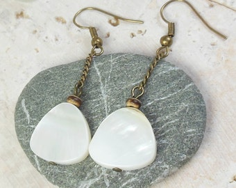 White Shell Earrings - dangle, antique brass chain , nickel free - women girl , handmade jewelry , beach , beachy