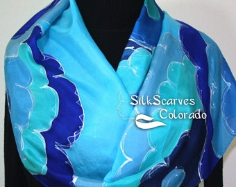Handpainted Silk Scarf. Turquoise & Blue Handmade Scarf FLORAL HORIZONS, in Several SIZES, by Silk Scarves Colorado. Bridesmaid Scarf