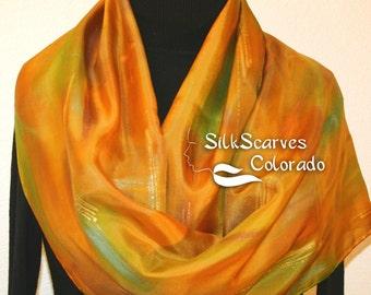 Silk Scarf Handpainted. Golden Terracotta, Sage Green Hand Painted Shawl. Handmade Silk Wrap FIELDS OF GOLD. Large 14x72. Birthday Gift.