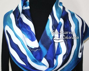 Handpainted Silk Scarf. Turquoise, Blue, White Handmade Silk Scarf WAVE DANCE, in SEveral SIZES, by  Silk Scarves Colorado. Birthday Gift.