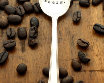 Let the Grinding Begin - Coffee Lovers Anniversary Wedding Honeymoon Gift - The Original Hand Stamped Vintage Coffee Spoons by Sycamore Hill