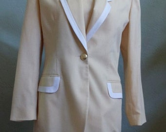 """Vintage 80's Casual Corner Yellow Matching Long Sleeved Jacket and Sheath Dress Bust 36"""" Waist 31"""""""