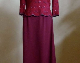 "Vintage Papell Occasions Coordinating Burgundy Evening Beaded Top and Long Skirt Bust 38"" Waist 29-31"""