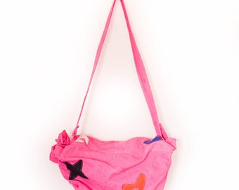 90's Pink Soft Leather Stars and Shapes Duffle Bag